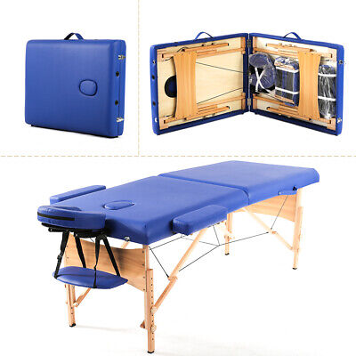 Blue Portable Massage Table w/Free Carry Case T1 Chair Bed Spa Facial Health & Beauty