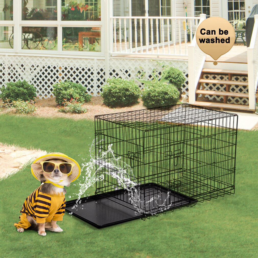 Black 48″ 2 Door Pet Cage Folding Dog w/Divider Cat Crate Cage Kennel w/Tray DC Cages & Crates