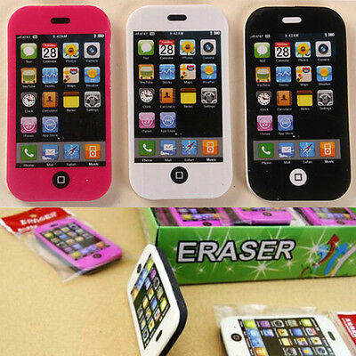 2Pcs Mobile Phone Shaped Pencil Eraser Creative Students Stationery Rubber Prize