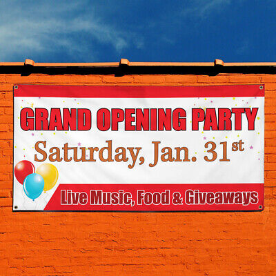 Vinyl Banner Sign Grand Opening Party Business Marketing Advertising Red
