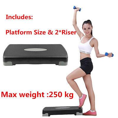Aerobic Step Fitness Board Exercise Stepper Platform GYM Block & 2 X risers
