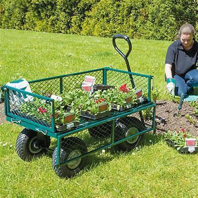 New Garden Carts Wagons Heavy Duty Utility Outdoor Steel Beach Lawn Yard Buggy Garden Hand Tools & Equipment