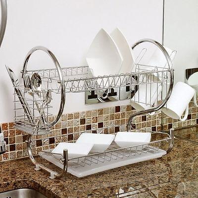 Kitchen Dish Cup Drying Rack Holder Sink Drainer 2-Tier Dryer Stainless Steel KZ