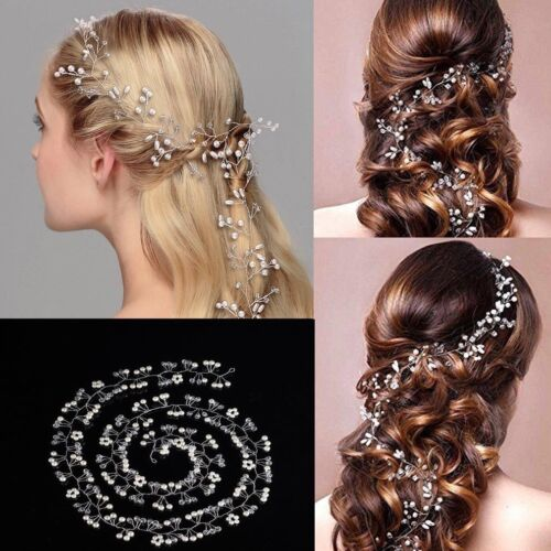 New Pearl Wedding Hair Vine Crystal Bridal Hair Accessories Headbands 30-100cm