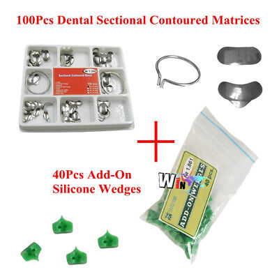 Dental 100pcs Sectional Contoured Matrices Matrix Ring Delta 40pc Add-on Wedges