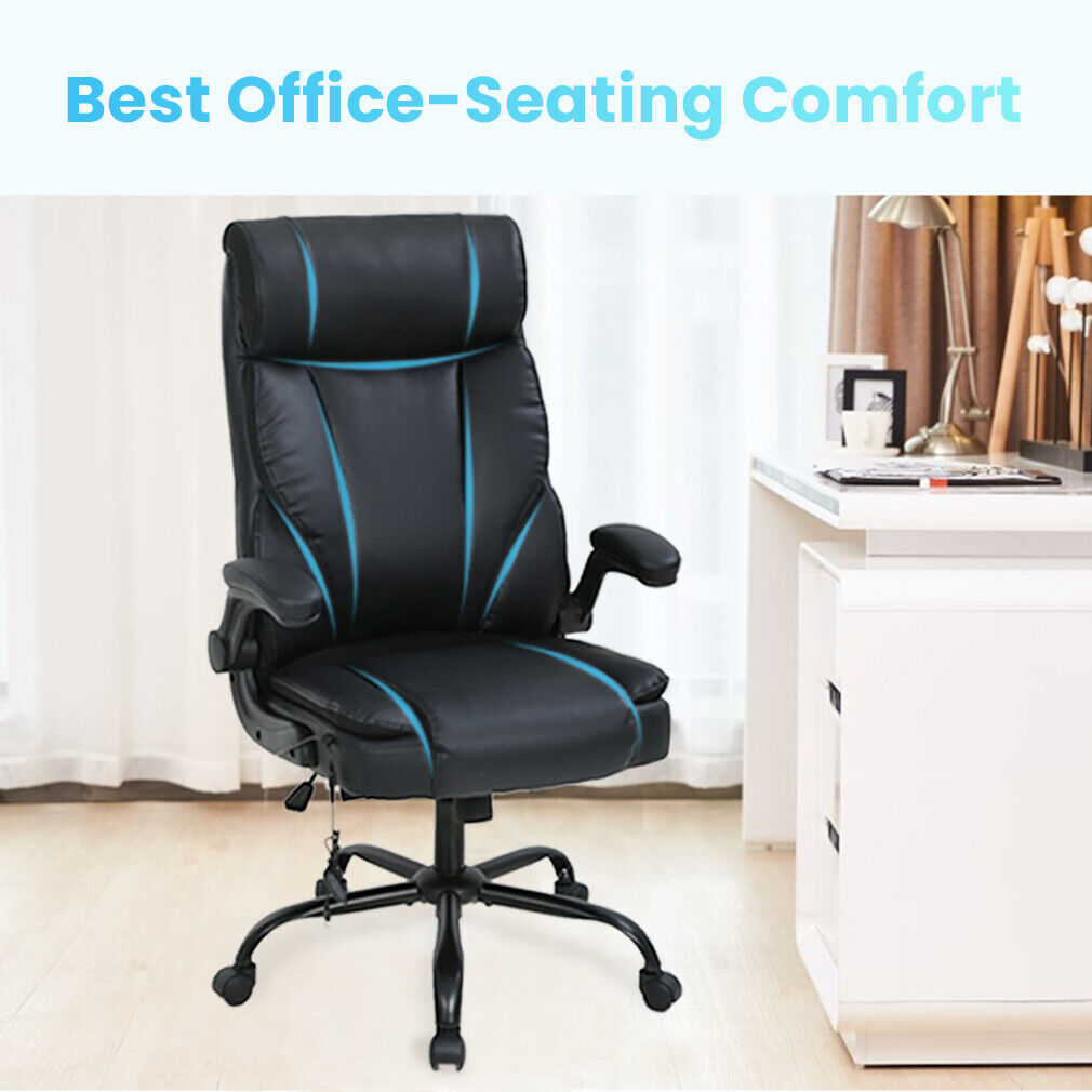Massage Office Chair Ergonomic Desk Chair PU Leather Computer Chair with Lumbar Business & Industrial