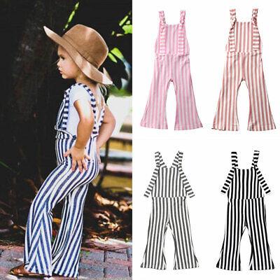 Jumper Outfit (US 2019NEW Kids Baby Girl Stripe Bell-Bottom Pants Trousers Romper Jumper)