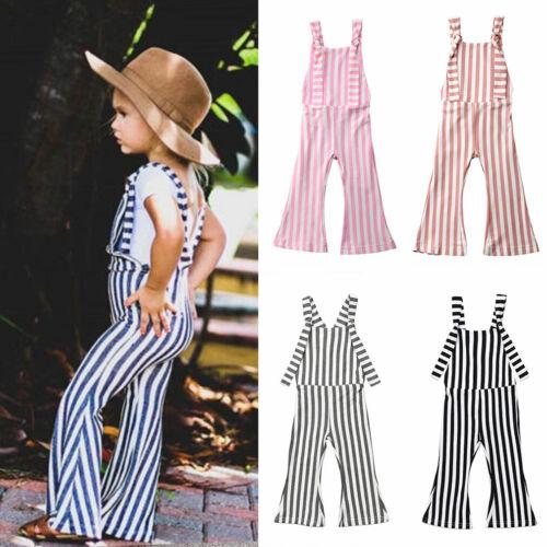 US 2019NEW Kids Baby Girl Stripe Bell-Bottom Pants Trousers