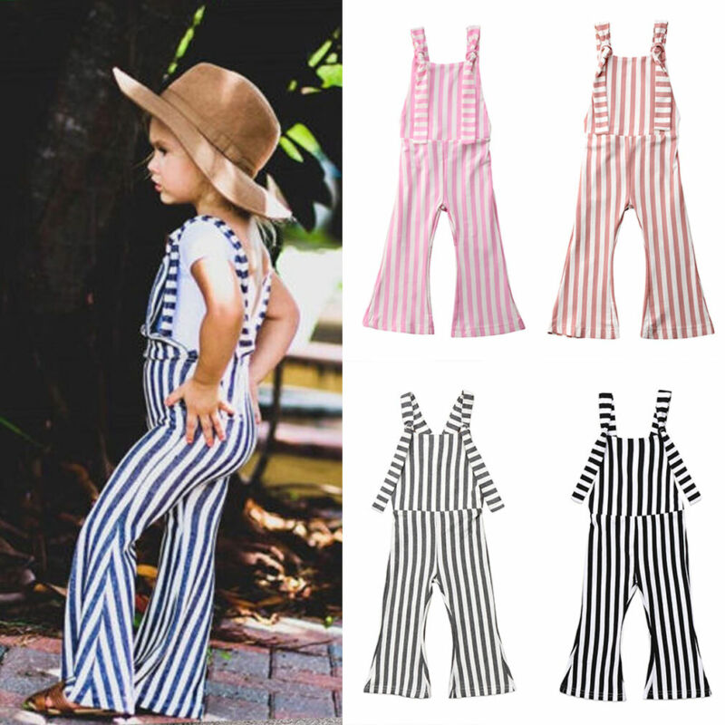 US 2019NEW Kids Baby Girl Stripe Bell-Bottom Pants Trousers Romper Jumper Outfit