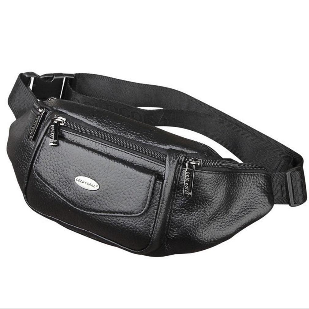 Men Leather Waist Bag Fanny Pack  Belt Hip Bum Sling Chest P