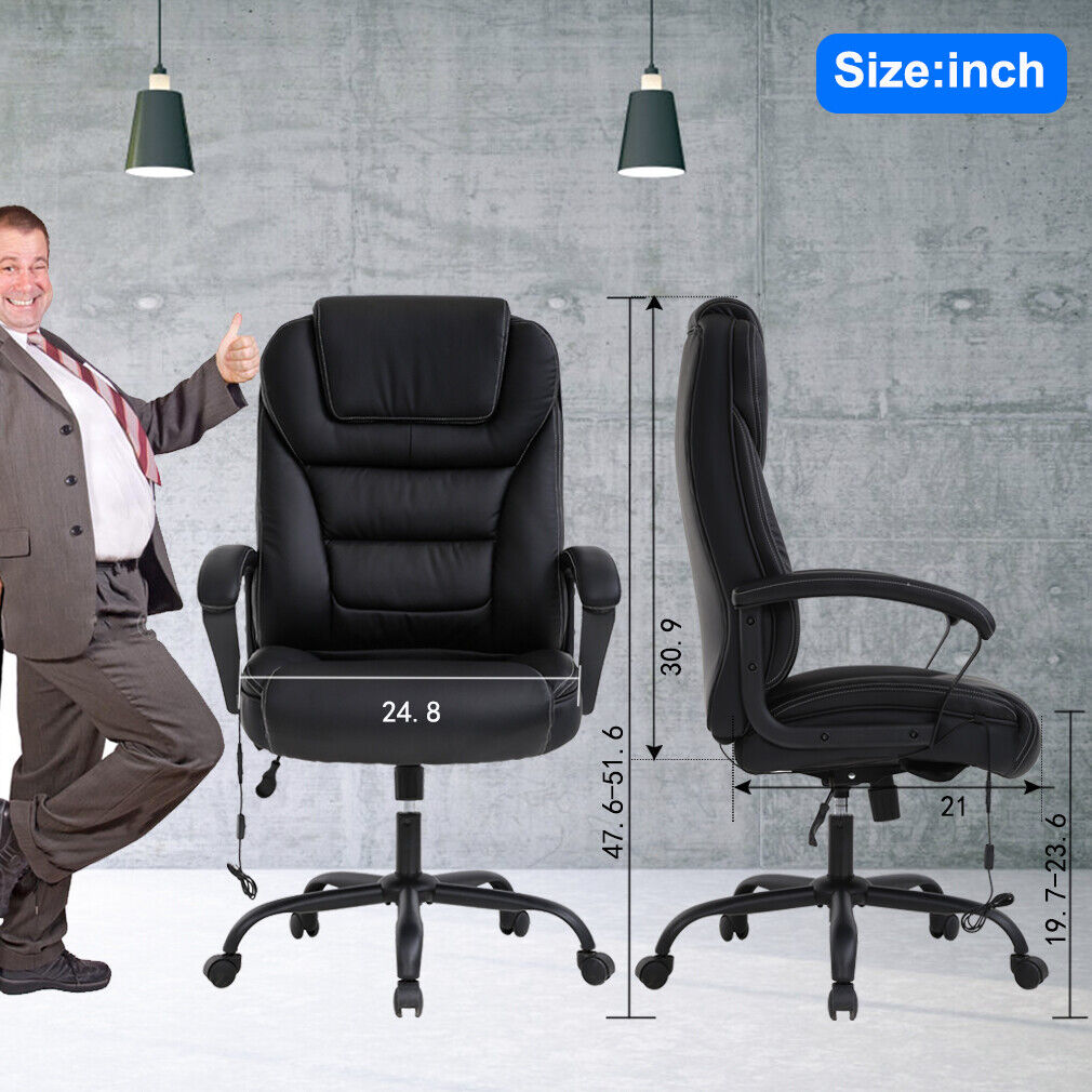 Big Tall Office Chair 500lbs Wide Seat Ergonomic Desk w/Lumbar Support Arms Chairs