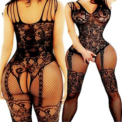 Black Baby Doll Lingerie (Adult Fishnet Body Stockings Babydoll Sleepwear New Bodysuit Lingerie)