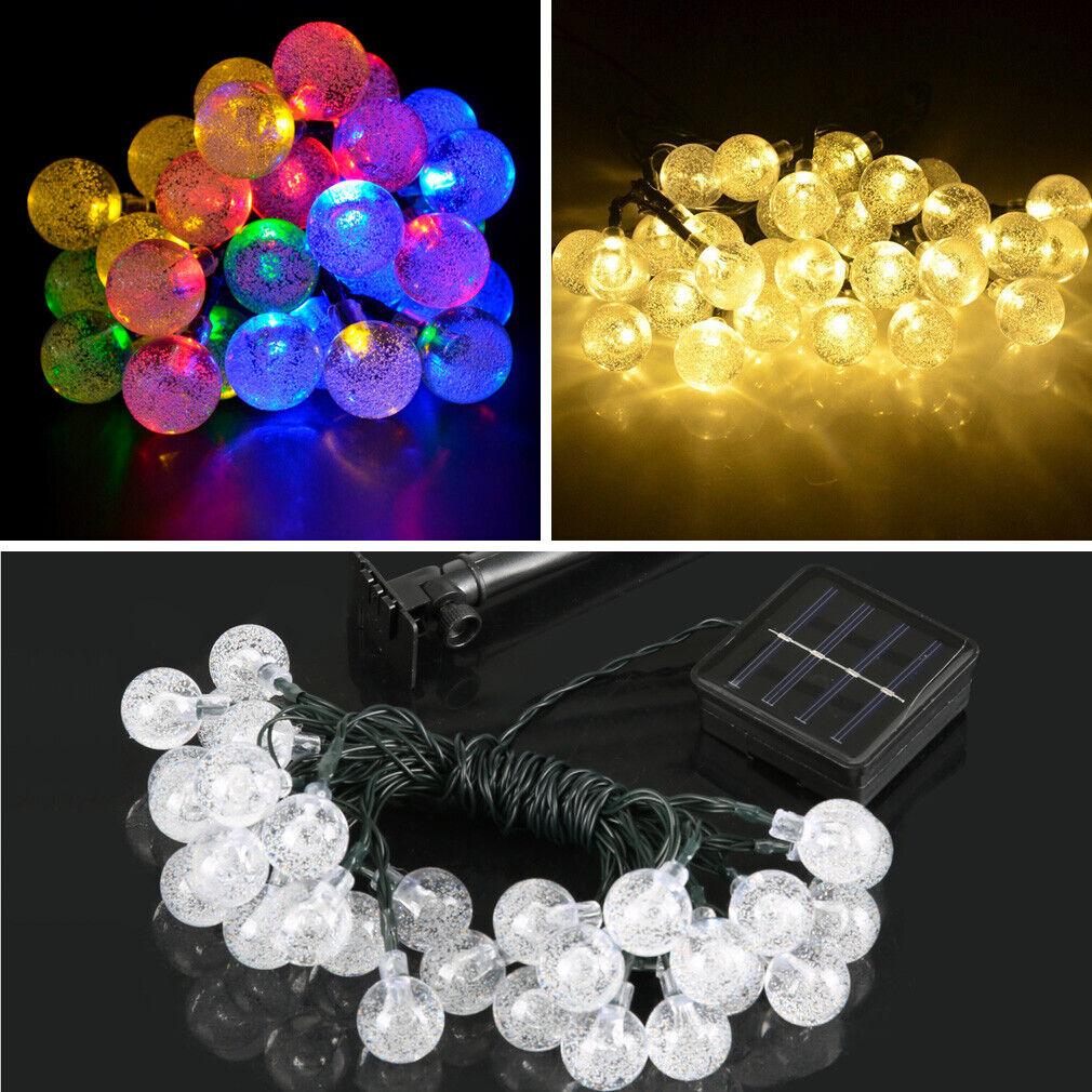 6.3M 30 LED Solar Lichterkette Außen Beleuchtung Warmweiß Party Garten Deko