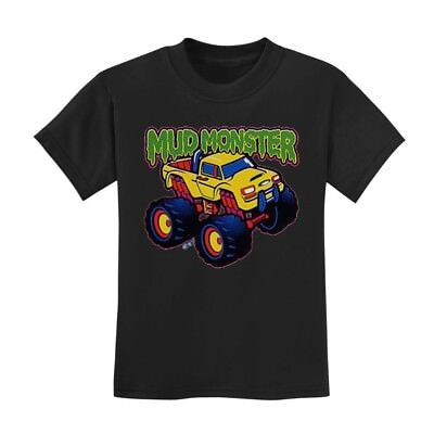 Mud Monster Toddler T-Shirt Truck Boys Birthday Gift Idea Cars Crewneck Crew Tee (Car Birthday Ideas)