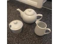 White Ceramic Tea Set - Brand New!
