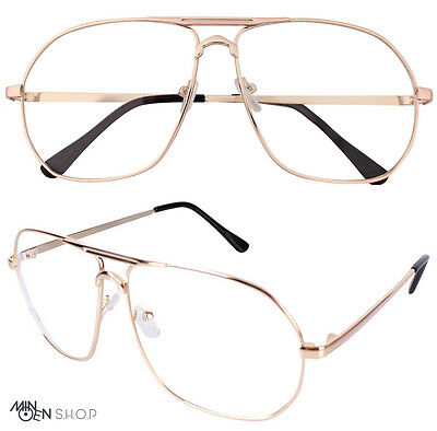 Rose Gold Clear Lens Flat Top Metal Frame Pilot Glasses Wire Trendy Unisex