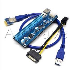 PCI-E 1x to 16x Powered USB3.0 Extender Riser Adapter Card 6PIN Bitcoin Litecoin