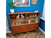 Mid century retro teak wood and teak laminate bookcase display cabinet storage unit