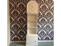 White grandfather clock bookcase shelves storage