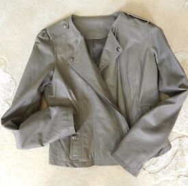 Ex Laura Ashley taupe leather biker-style jacket 12