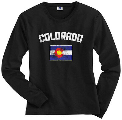 Threadrock Womens Colorado Coloradan Flag Long Sleeve T Shirt State Denver