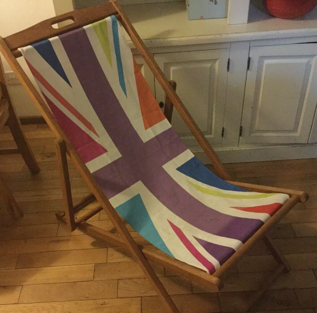 Traditional Classic Wooden Folding Deck Chair / Beach Chair Union Jack