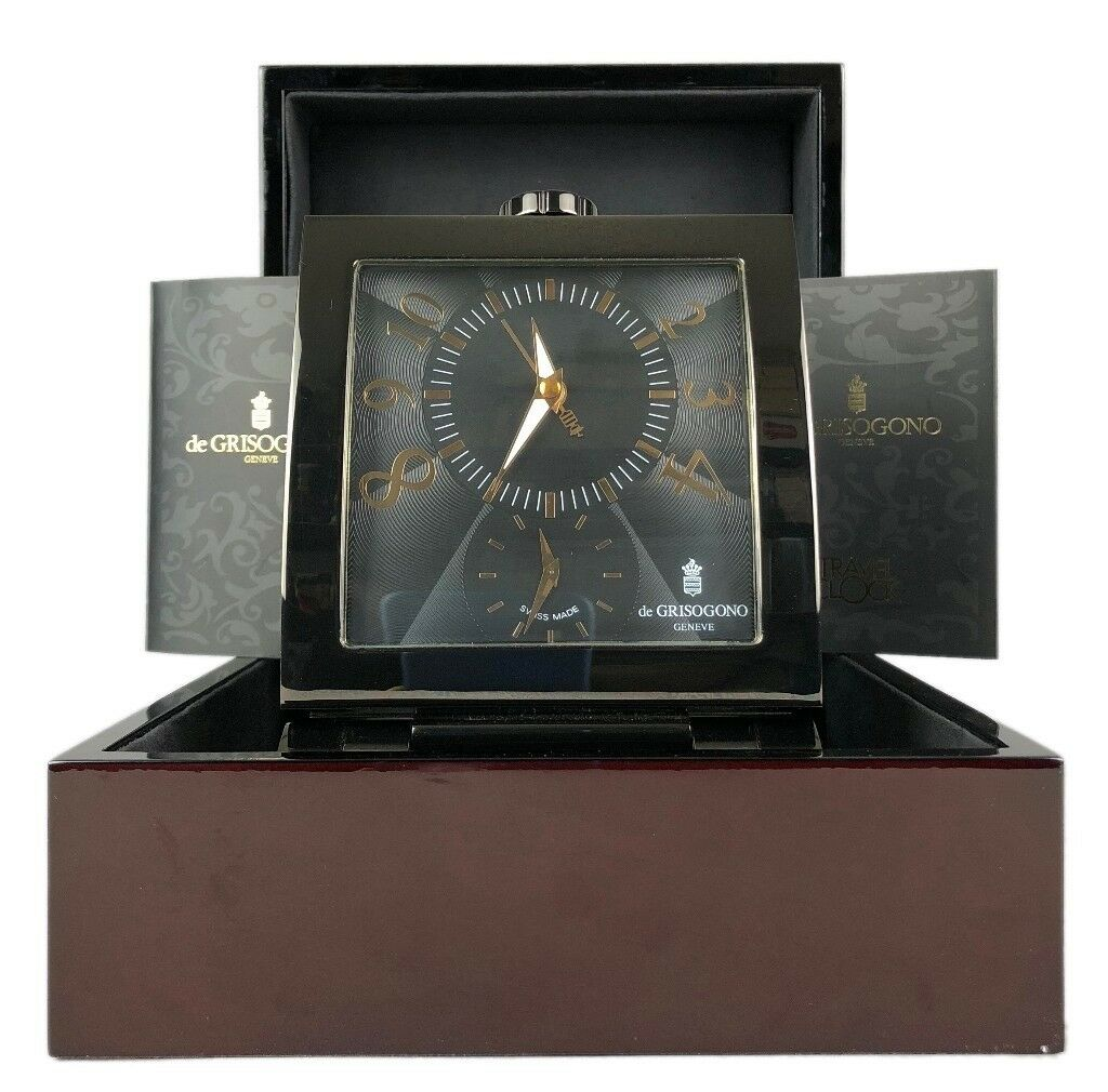 De Grisogono Geneve Swiss Made Dual Time Zone Travel Desk Alarm Clock