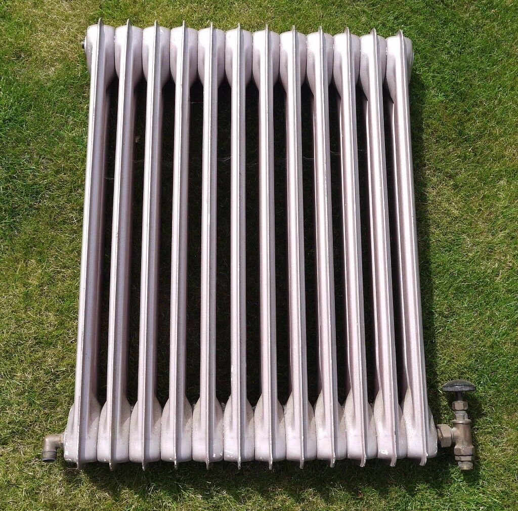1930s ART DECO RADIATOR VINTAGE (BISQUE STYLE) WITH VALVES AND ALL FITTINGS. VERY MODERN STYLE