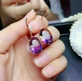 Oval Shaped Purple Gem Earrings