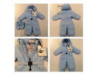 Moncler baby blue snowsuit 6-9 months