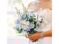 Blue Wedding Flower bouquet Vintage real looking silk flowers