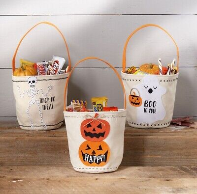 Mud Pie H9 Halloween Trick or Treat Canvas Candy Bag 42600336 Choose Design - Mud Pie Halloween Bags
