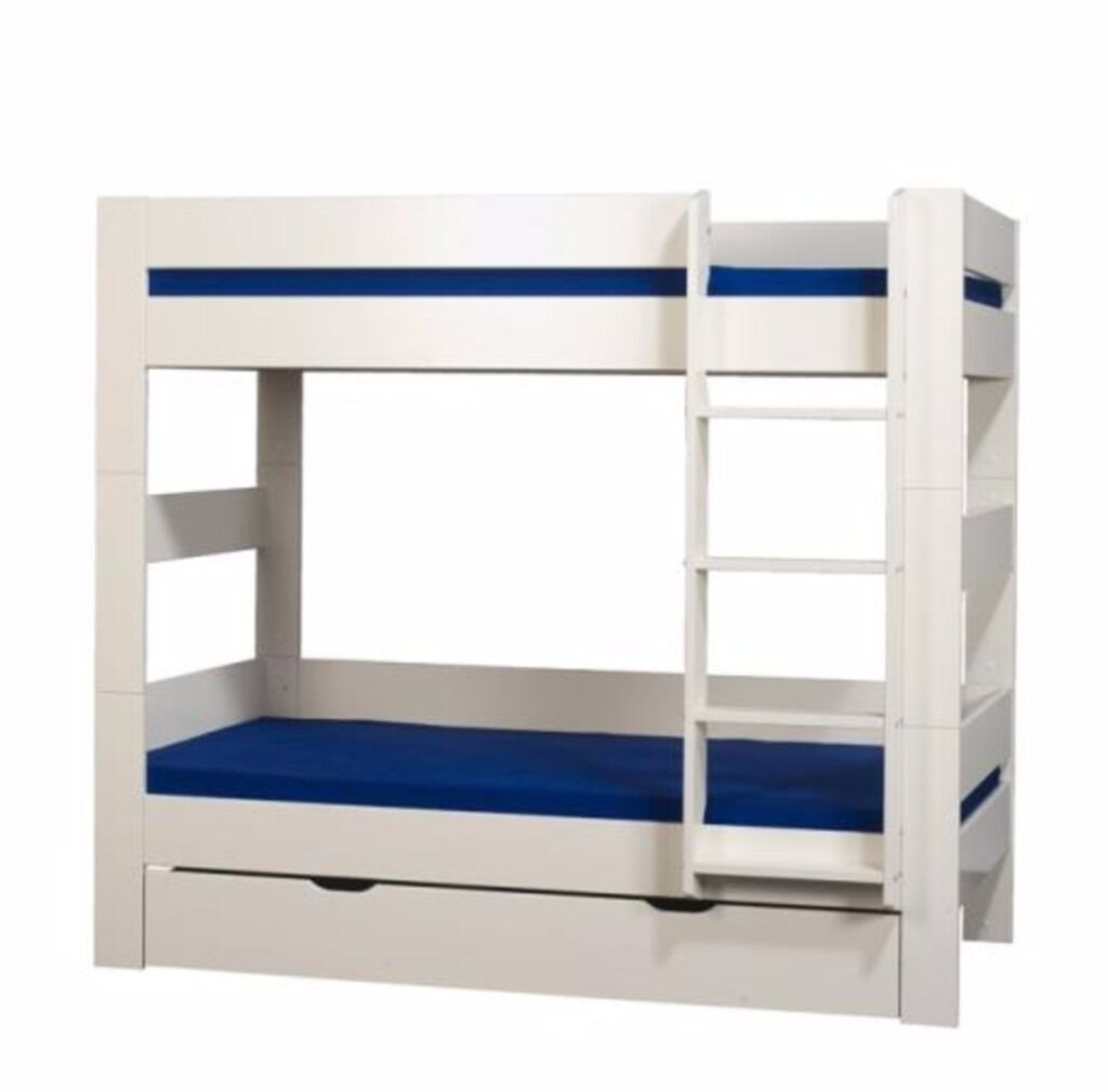 Kids White Wooden Bunk Beds Mattresses Incl 160cm X 70cm