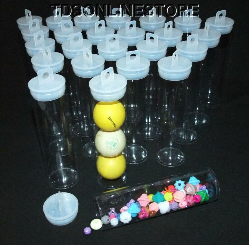 """Jumbo Round Clear Plastic Storage Tubes 5.5"""" by 1.5""""  Package of 50"""