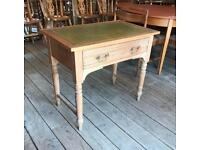 Pine Writing Table / Desk With Leather Top