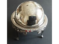 Antique Sugar Bowl Globe Rotating Lid Silver Plated Queen Anne Style