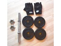 York Fitness 10kg Cast Iron Dumbbell + Lonsdale Weightlifting Gloves