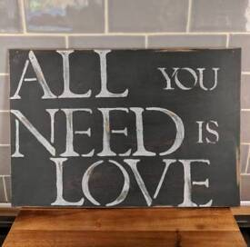 Vintage shabby chic sign plaque hand made all you need is love