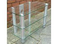 glass tv stand / table. 80 x 53 x 45cm. In excellent condition.