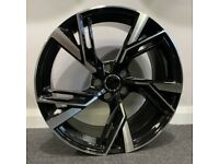 "19"" New RS6 (Blk/pol) style alloy Wheels & Tyres Audi A3, A4 VW MK,6,7, Golf, Caddy, Jetta, Seat"