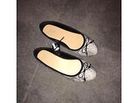 Animal print leopard cheetah ladies ballet pumps women's shoes UK 6 wide fit flats UK 7