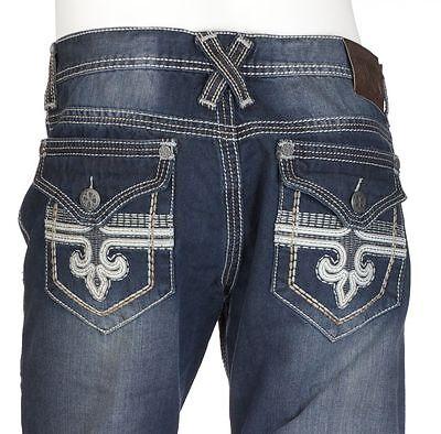 Xtreme Couture AFFLICTION Men Denim Jean GEO FLAP FLEUR Dark Blue $79