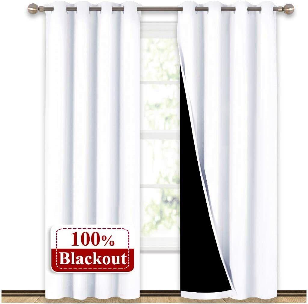 NICETOWN 100% Blackout Window Curtain Panels Home Fashion Fu