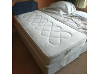 Single divan bed with headboard and under-bed storage drawers. Unused, nearly as-new