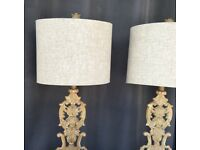 Pair of Rococo French Wooden Lamps