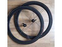 Bontranger Xlite 50mm Carbon Wheels with Vitoria Corsa Evo Tubulars and lightweight Skewers