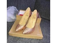 Christian louboutin glitter heels ladies brand new with box and accessories size uk6