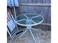 Metal and Glass Garden Table