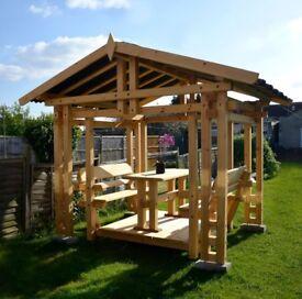 Handmade Wooden Garden Outdoor Gazebo Swing 4-6 seat