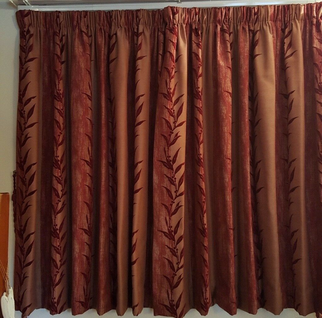 Fully Lined Luxury Burgundy Red Curtains, With Rope Tiebacks And Door  Curtain